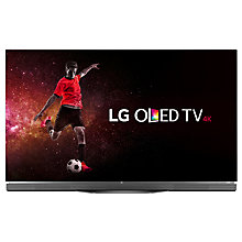 "Buy LG OLED55E6V OLED HDR 4K Ultra HD 3D Smart TV, 55"" with Freeview HD/Freesat HD, Harman / Kardon Soundbar Stand, Picture-On-Glass Design & 2 x 3D Glasses, UHD Premium Online at johnlewis.com"