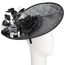 Buy John Lewis Imogen Disc Silk Flower Occasion Hat, Black/White Online at johnlewis.com