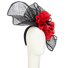 Buy Snoxells Maria Large Flower Fascinator, Black/Red Online at johnlewis.com