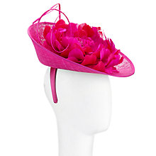 Buy John Lewis Harper Small Disc and Flower Fascinator, Hot Pink Online at johnlewis.com