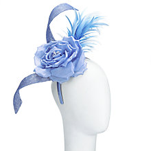 Buy John Lewis Jade Rose and Feather Fascinator, Sky Online at johnlewis.com