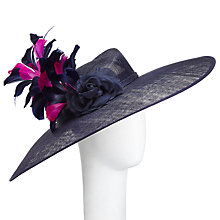 Buy John Lewis Aurelia Large Crown and Disc Occasion Hat, Navy/Magenta Online at johnlewis.com