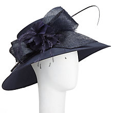 Buy John Lewis Fleur Bow and Flower Occasion Hat, Navy Online at johnlewis.com