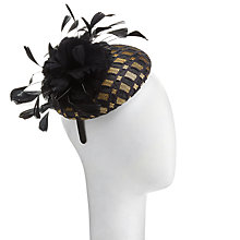 Buy John Lewis Luna Pillbox Fascinator, Black/Gold Online at johnlewis.com