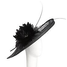 Buy John Lewis Lily Disc Feather and Flower Occasion Hat, Black Online at johnlewis.com