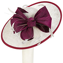Buy Snoxells Millie Large Disc and Bow Occasion Hat, Silver/Magenta Online at johnlewis.com