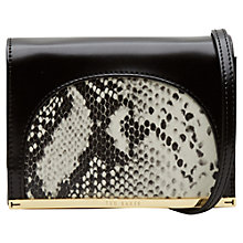 Buy Ted Baker Zellar Leather Snake Panel Mini Clutch Bag, Jet Online at johnlewis.com