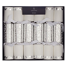 Buy John Lewis Ruskin House Silver Damask Mini Crackers, Box of 6 Online at johnlewis.com