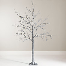 Buy John Lewis 4ft Pre-Lit Silver Glitter Leaf Christmas Tree Online at johnlewis.com