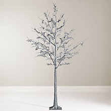 Buy John Lewis 6ft Pre-Lit Silver Glitter Leaf Christmas Tree Online at johnlewis.com