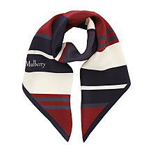 Buy Mulberry Preppy Stripe Silk Square Scarf, Wine/Multi Online at johnlewis.com