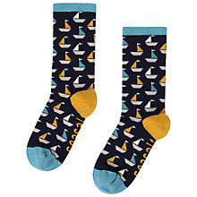 Buy Seasalt Sailor Geo Boats Ankle Socks, Marine/Mustard Online at johnlewis.com