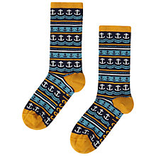 Buy Seasalt Sailor Anchor Stripe Ankle Socks, Marine/Mustard Online at johnlewis.com