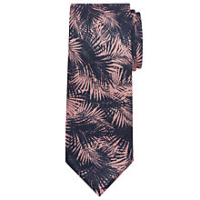 Buy JOHN LEWIS & Co. Rhodes Palm Print Linen Tie, Navy/Pink Online at johnlewis.com