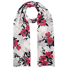 Buy Jacques Vert Oriental Poppy Print Scarf, Multi Cream Online at johnlewis.com