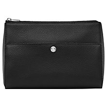 Buy Reiss Watson Grained Leather Panel Wash Bag, Black Online at johnlewis.com