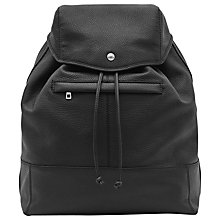 Buy Reiss Bash Grained Leather Backpack, Black Online at johnlewis.com