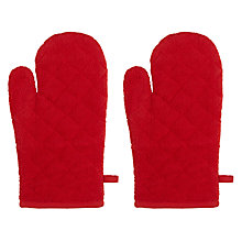 Buy John Lewis Red Towelling Oven Mitt, Set of 2 Online at johnlewis.com