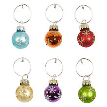 Buy John Lewis Christmas Bauble Wine Charms, Set of 6 Online at johnlewis.com