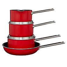 Buy House by John Lewis Stainless Steel Pan Set, 4 Piece, Red Online at johnlewis.com