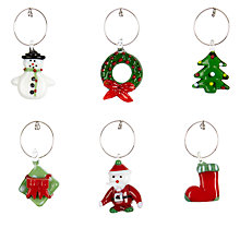 Buy John Lewis Christmas Novelty Wine Charms, Set of 6 Online at johnlewis.com