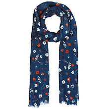 Buy Seasalt Harbour Flower Night Scarf, Navy/Coral Online at johnlewis.com