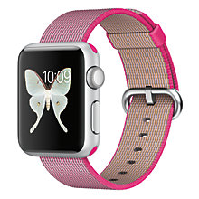 Buy Apple Watch Sport 1st Gen 38mm Silver Aluminium Case & Woven Nylon Band, Pink Online at johnlewis.com