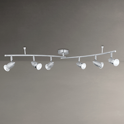 John Lewis Soyuz 6 LED Spotlight Ceiling Bar, Polished Steel