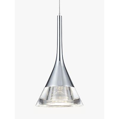John Lewis Zion LED Cone Single Pendant Ceiling Light, Clear/Chrome
