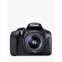 "Buy Canon EOS 1300D Digital SLR Camera With 18-55mm Lens, HD 1080p, 18MP, Wi-Fi, NFC,  3"" LCD Screen Online at johnlewis.com"