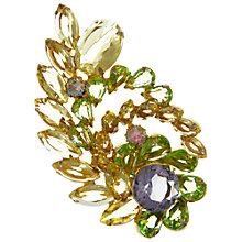 Buy Eclectica Vintage 1950s Gold Plated Glass Stone Spring Brooch, Yellow/Green Online at johnlewis.com