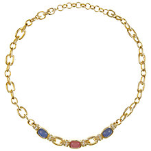 Buy Eclectica Vintage 1970s Grosse Gold Plated Glass Stone Chain Necklace, Rose Pink/Cornflower Blue Online at johnlewis.com