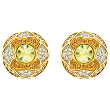 Buy Eclectica Vintage 1980s Swarovski Gold Plated Crystal Clip-On Dome Earrings, Yellow/Gold Online at johnlewis.com