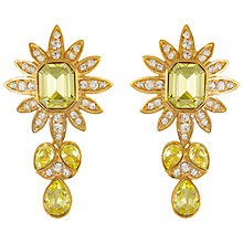 Buy Eclectica Vintage 1980s Attwood & Sawyer Gold Plated Swarovski Crystal Drop Clip-On Earrings, Light Chartreuse/Lemon Online at johnlewis.com