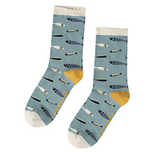Buy Seasalt Arty Fish Minnow Ankle Socks, Blue/Mustard Online at johnlewis.com