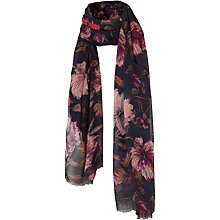 Buy Fat Face Hand Drawn Floral Scarf, Navy/Multi Online at johnlewis.com