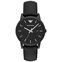Buy Emporio Armani AR1973 Men's Date Leather and Silicone Strap Watch, Black Online at johnlewis.com