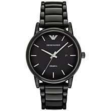 Buy Emporio Armani AR1508 Men's Date Ceramic Bracelet Strap Watch, Black Online at johnlewis.com