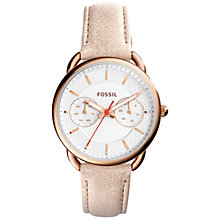 Buy Fossil ES4007 Women's Tailor Day Leather Strap Watch, Light Brown/White Online at johnlewis.com