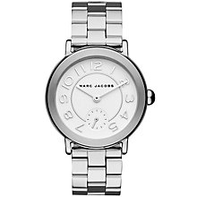 Buy Marc Jacobs MJ3469 Women's Riley Bracelet Strap Watch, Silver/White Online at johnlewis.com