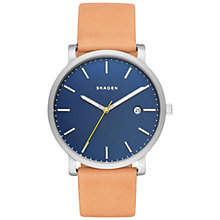 Buy Skagen SKW6279 Men's Hagen Date Leather Strap Watch, Camel/Blue Online at johnlewis.com