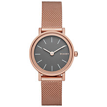 Buy Skagen SKW2470 Women's Hald Mesh Bracelet Strap Watch, Rose Gold/Grey Online at johnlewis.com