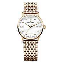 Buy Maurice Lacroix EL1094-PVP06-150-1 Women's Eliros Diamond Date Bracelet Strap Watch, Rose Gold/White Online at johnlewis.com