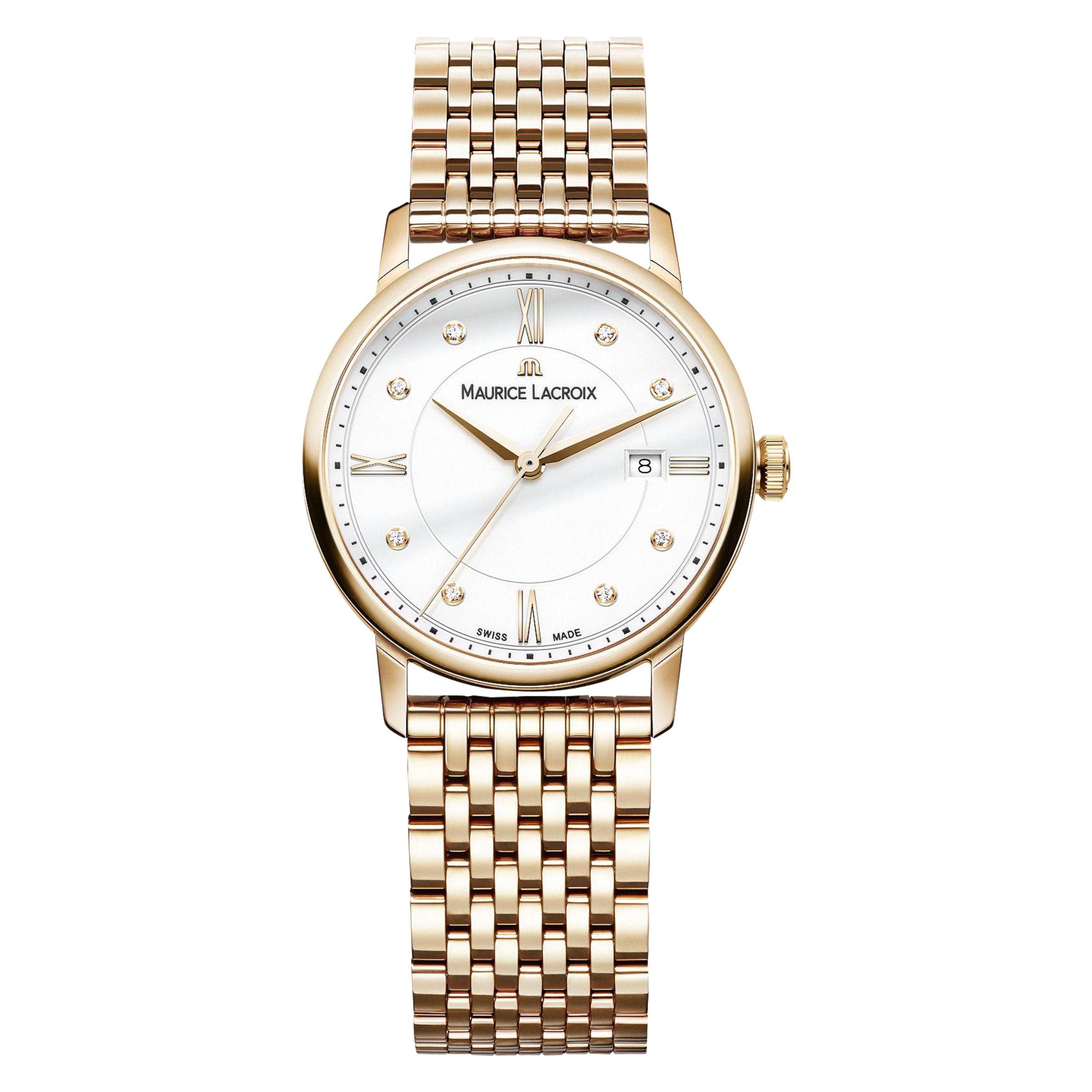 Maurice Lacroix Maurice Lacroix EL1094-PVP06-150-1 Women's Eliros Diamond Date Bracelet Strap Watch, Rose Gold/White
