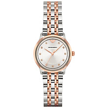 Buy Emporio Armani AR1962 Women's Crystal Bracelet Strap Watch, Silver/Rose Gold Online at johnlewis.com