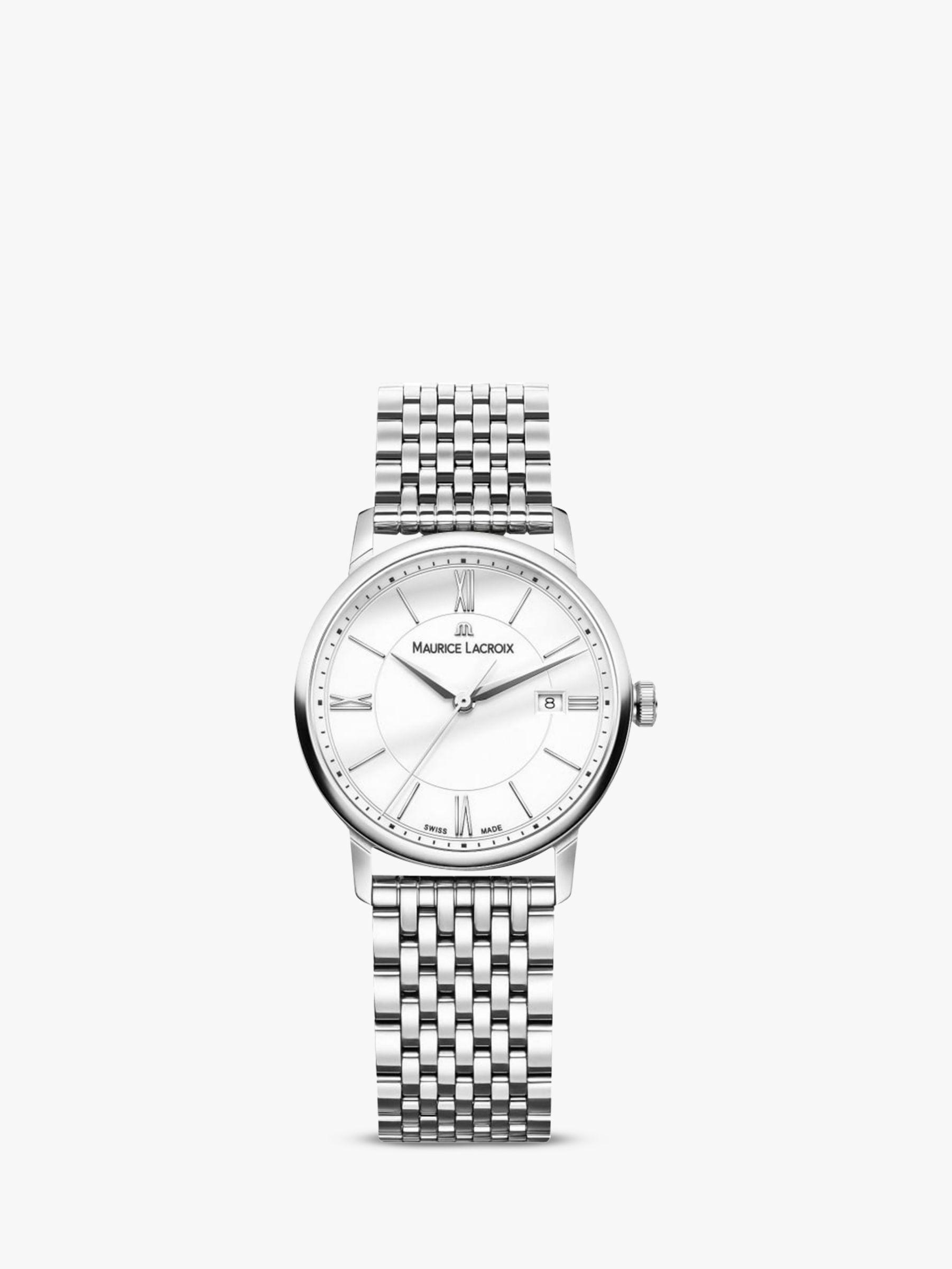 Maurice Lacroix Maurice Lacroix EL1094-SS002-110-1 Women's Eliros Date Bracelet Strap Watch, Silver/White