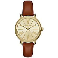 Buy Michael Kors MK2521 Women's Hartman Leather Strap Watch, Tan/Gold Online at johnlewis.com