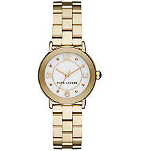 Buy Marc Jacobs MJ3473 Women's Mini Riley Bracelet Strap Watch, Gold/White Online at johnlewis.com