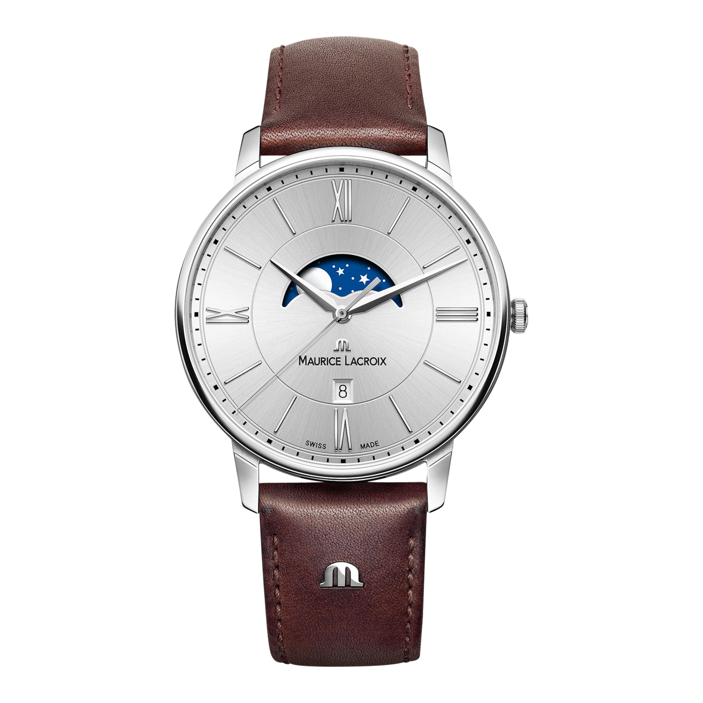 Maurice Lacroix Maurice Lacroix EL1108-SS001-110-1 Men's Eliros Moon Phase Date Leather Strap Watch, Brown/Silver