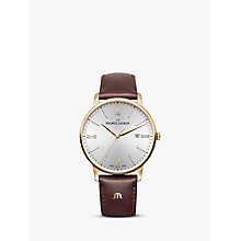 Buy Maurice Lacroix EL1118-PVP01-111-1 Men's Eliros Date Leather Strap Watch, Brown/Silver Online at johnlewis.com